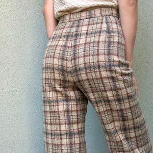 [vintage] 70s high waist plaid wool bellbottoms